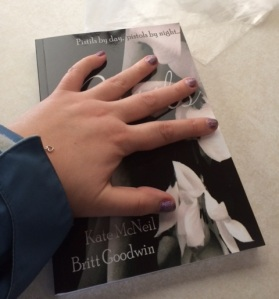Here is a picture of me having my first touchy-feely moment with our novel. Of course I had to send a pic to my twin Kate! And yes, that's me, still wearing my jacket because ain't nobody got time to take it off when your book is waiting for you!